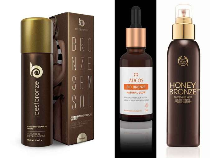 Autobronzeador spray incolor com secagem rápida 150ml, da Bestbronze (R$ 158); Bio Bronzer Natural Glow 15ml, da Adcos (R$ 95); Spray tonalizante Honey Bronze para as pernas, 12ml, da The Body Shop (R$ 84,50)(foto: Divulgação)